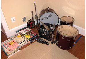 Thunder drum set with collection of music sheet for Sale in Westlake, MD