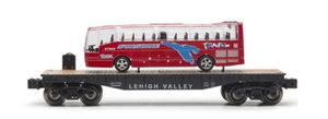 O scale LEHIGH VALLEY flatbed train car with travel bus for Sale in Climax, MI