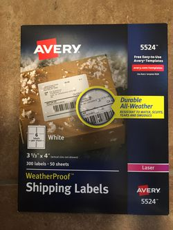 Weather Proof Shipping Labels( 300 labels) 3 1/3 inches x 4 inches White for Sale in Denver,  CO
