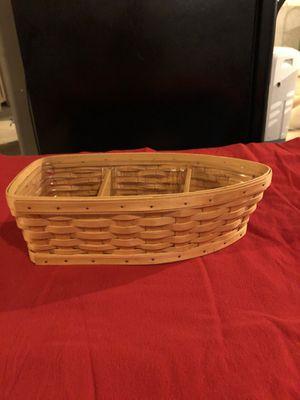 Longaberger boat basket w liner and dividers for Sale in Stephens City, VA