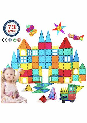 HLAOLA Magnetic Building Blocks Magnetic Tiles 3D Tiles Set 73PCS Magnetic Toys for 2 3 4 5 6 7 Year Old Boys Girls Gifts Educational Inspirational C for Sale in El Monte, CA