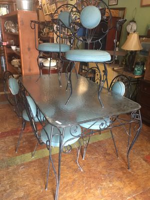 Vintage iron glass patio table set $199 for Sale in San Diego, CA