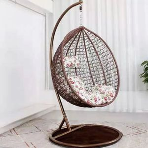 *New* Wicker Style Hanging Egg Chair Patio Porch Lounge Swing with Stand Included Bedroom Furniture for Sale in Plainfield, IL