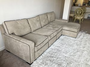 Mitchell gold + Bob Williams's nude tan section couch for Sale in Baltimore, MD