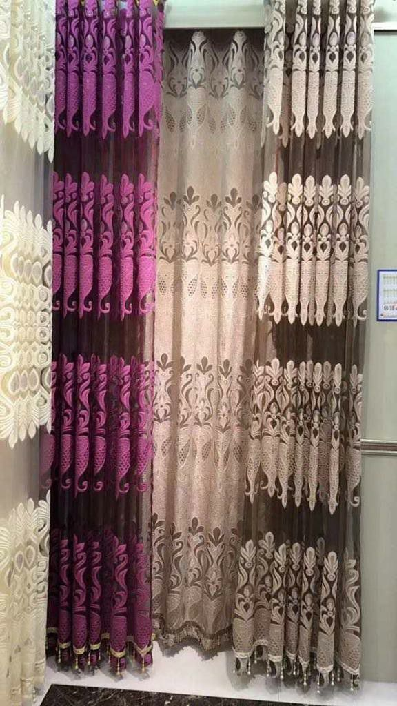 Fashion Style Two Layers Jacquard Sheer With Plain Dyed Heavy Inner For Sitting Room, Bedroom,,Hotel, ect...