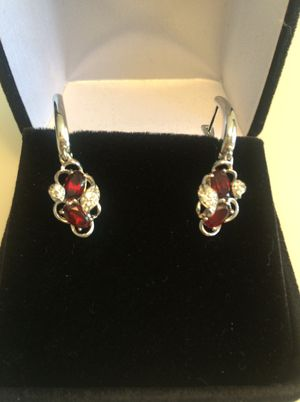 Genuine Mozambique Garnets and White Zircon Sterling Silver Earrings for Sale in Beaverton, OR
