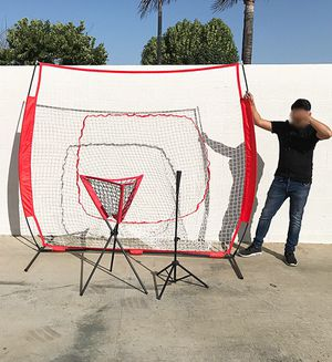 New in box $95 Baseball Practice (3pc Set) includes the 7'x'7 Net Bow Frame, Ball Tee and Caddy Bag for Sale in Whittier, CA