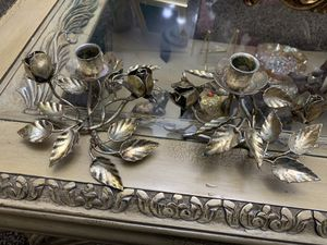ITALY VITAGE GOLD METAL ROSES CANDLE HOLDERS for Sale in Washington Grove, MD