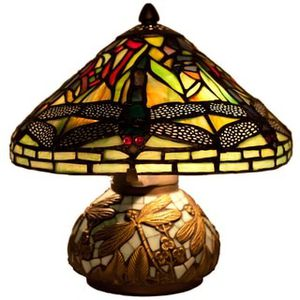 Tiffany Style 10-inch Stained Glass Mini Dragonfly Table Lamp with Mosaic Base for Sale in Gambrills, MD