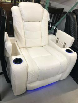 🔥Best Price Brand🆕️ Party Time White LED Power Recliner with Adjustable Headrest byAshley A746👆In Stock👆 for Sale in Annandale,  VA