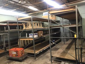 Industrial pallet racks 6&8ft tall 4ft wide 8ft long pallet racks 6 sections of 8ft tall available must buy 2 minimum $150 for 2 connecting sections for Sale in Fort Lauderdale, FL