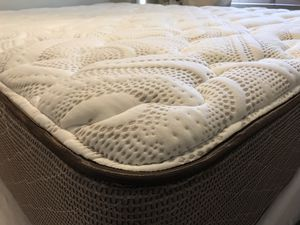 "11"" Deep Queen Size Mattress + Matching 9"" Deep Boxspring Set + Solid Wood Bed Frame for Sale in Denver, CO"