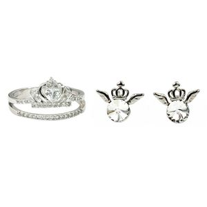 Silver crown crystal ring earrings set for Sale in Redwood City, CA