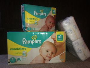 SEALED Pampers Swaddlers Diapers (Size 1) 128 Count PLUS Newborn pack! WORTH $37 for Sale in Murrieta, CA