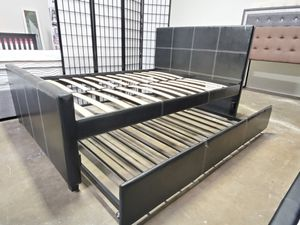 Full Size Platform Bed with Twin Trundle, Black for Sale in Fountain Valley, CA