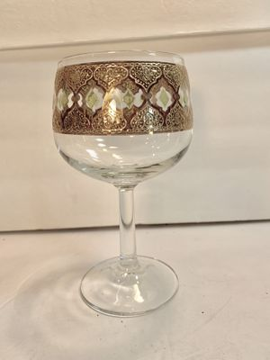 """CULVER Vintage French 22K-Gold Valencia Green-Diamond Crystal Wine Glass (Height: 6-1/2"""") for Sale for sale  Dade City, FL"""