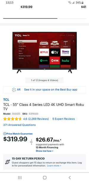 TCL 4k Roku TV like new condition (will deliver) for Sale in Baltimore, MD