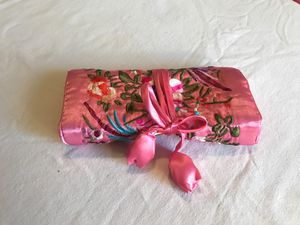 Chinese Embroidered Pink Silk Roll Up Bag for Sale in Olivette, MO