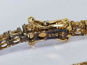 Women's Sterling Silver 925 Bracelet Gold Plated with White Stones #81513 for Sale in Lawrence, NY
