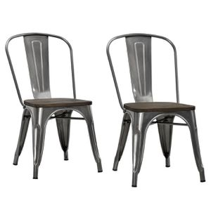 Metal gray dining chair wood seat new for Sale in INVER GROVE, MN