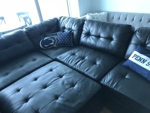 5 piece black faux leather sectional couch sofa ottoman included for Sale in Miami, FL