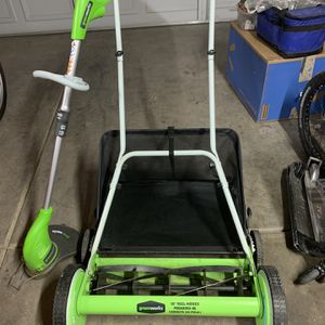 Greenworks Manual Mower And Weed Whacker for Sale in North Las Vegas, NV