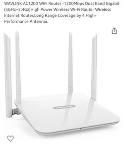 WAVLINK AC1200 WiFi Router -1200Mbps Dual Band Gigabit (5GHz+2.4Gz)High Power Wireless Wi-Fi Router Wireless Internet Router,Long Range Coverage by 4  for Sale in Fontana, CA
