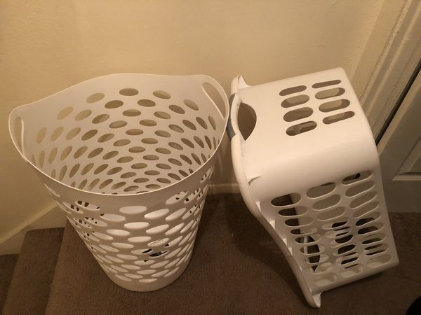 2 White Laundry Baskets