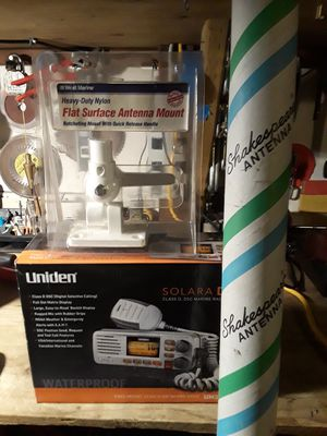 Marine radio is a Uniden Solara D UM380 fixed mount Class D VHF . 8' VHF Shakespeare antenna . mount is a Heavy Duty Nylon for Sale in Pacifica, CA
