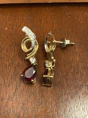 Real ruby and diamond earrings for Sale in Vancouver, WA