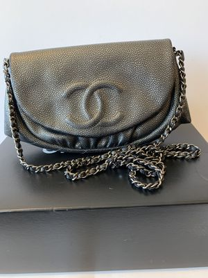 dac55016e7 Chula Vista, CA. Authentic CHANEL Dark Silver Caviar Half Moon Wallet On  Chain WOC Crossbody Bag for Sale in