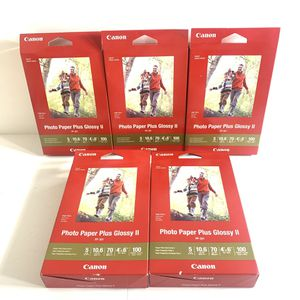 """500 Sheets Genuine Canon Photo Paper Plus Glossy II 4"""" x 6"""" pp-201 5 Boxes for Sale in San Leandro, CA"""