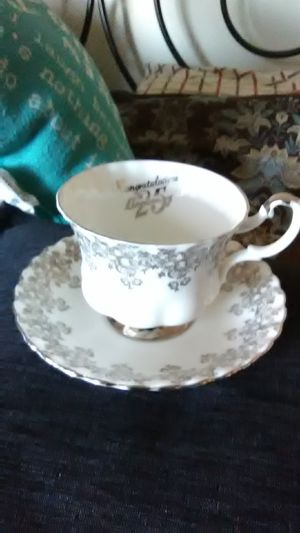 25th anniversary cup and saucer. Royal Albert. Bo ne China. Made in England for Sale in Dubuque, IA