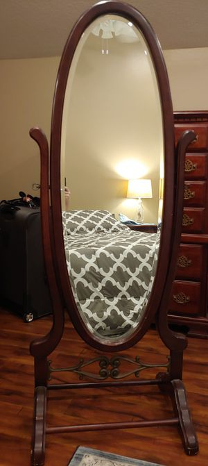 Old Fashioned Stand-Up Full Length Wooden Mirror for Sale in Austin, TX