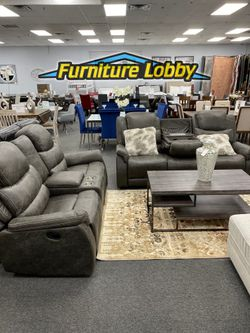Grey Reclining Sofa and Love Seat Set with Cup Holders and Usb Ports E for Sale in Irving,  TX
