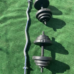 Sunny Curl Bar & Dumbbell Weight Set for Sale in Pico Rivera, CA