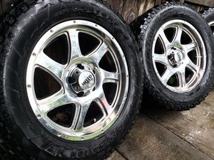 "20"" Moto Metal Rims with All Terrain Tires for Sale in Dallas, TX"