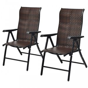 2 Piece Patio Rattan Folding Reclining Chair for Sale in South El Monte, CA