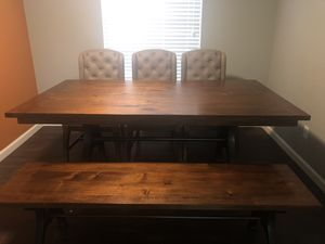 Wood Dining Table Set $800 OBO for Sale in Dallas, TX
