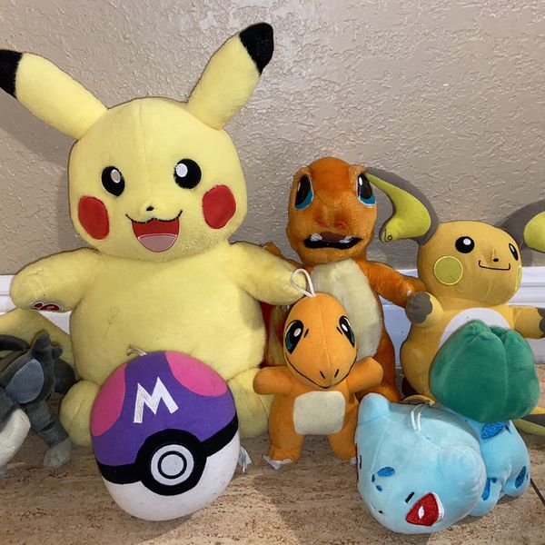 Pokemon Plush Lot 7 Pcs Pikachu Raichu Bulbasaur Ratata Master Ball Charmander X2
