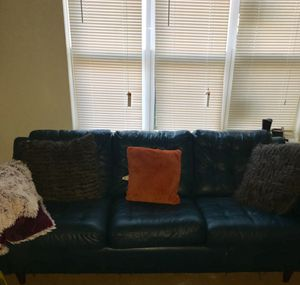 Teal leather sofa for Sale in Baltimore, MD