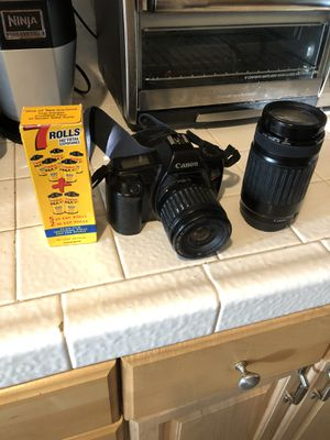 Canon EOS Film Camera with extra lens, film rolls and case for Sale in San Diego, CA