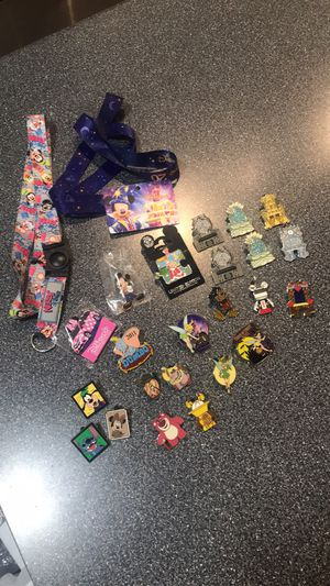 Disney pins - pin trader collector lot + 2 lanyards; LE, hidden Mickey for Sale in Dallas, TX
