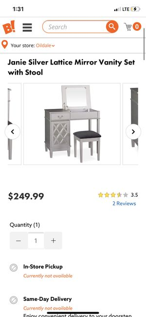 Vanity with stool sliver with mirror for Sale in Bakersfield, CA