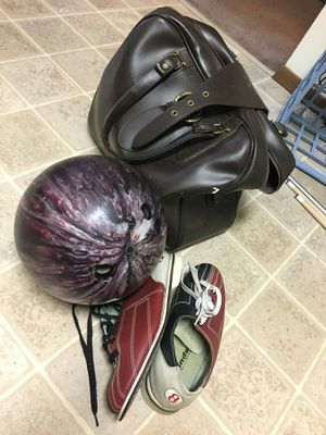 Bowling ball, shoes and bag for Sale in Eau Claire, WI