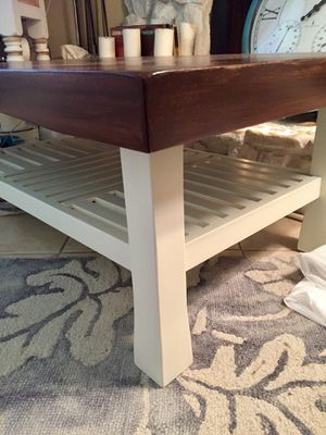 White and wood , Heavy, very sturdy, Solid wood coffee table. Freshly painted/stain wOld Masters/ protected for durability for Sale in VLG WELLINGTN, FL