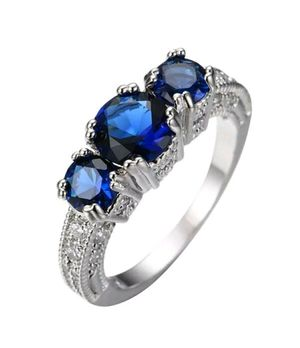 Brand new womens stamped 925 sterling silver genuine blue sapphire 3 stone engagement ring or promise ring several sizes available for Sale in New Port Richey, FL