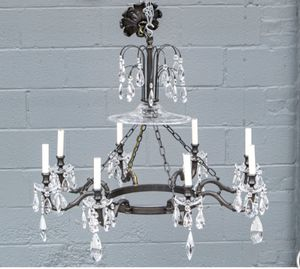 Glass and Wrought Iron Chandelier. Beauty! for Sale in Greenwich, CT