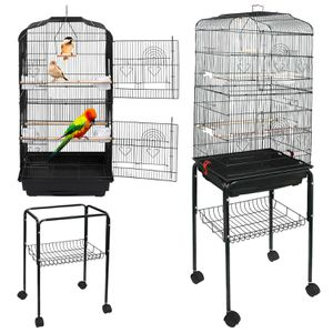 59H Rooling Bird Cage Cockatiel Parakeet Finch Canary Home with Stand and Tray for Sale in Wildomar, CA
