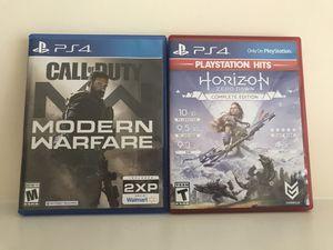 Modern Warfare PS4 & Horizon Zero Dawn Complete Edition PlayStation 4 for Sale in Richmond, VA
